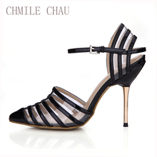 CHMILE CHAU Black Dress Sexy Party Shoe Women Pointed Toe Stiletto Iron High HeelStrappy Ladies Pumps Zapatos Mujer 3845D-6a(China)
