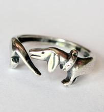 wholesale adjustable  retro punk Dachshund Ring free size hippie animal cartoon dog Ring jewelry for pet lovers 12pcs/lot