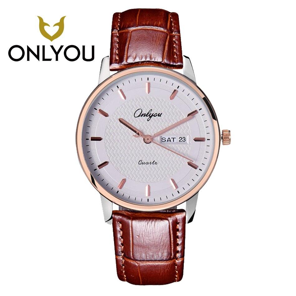 ONLYOU Luxury Fashion Men Watch Top Brand Lover Watch Dress Business Ladies Week Display Leather Women Quartz Watches reloj<br>
