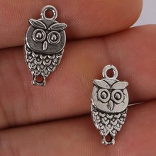 Free shiping 19x10mm 11pcs/lot 2016 new fashion antique silver plated handmade charms Pendant Owl(China)