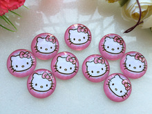 Free shipping! handmade hello kitty photo glass cabochon 20pcs  samples 25mm  for Bowknot center  decoration DIY
