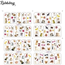 Rolabling animal cute dog&cat water nail art sticker decals for cartoon nail sticker with cheap nail decal cute nail sticker