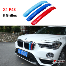 3D M Styling Front Grille Trim motorsport Strips grill Cover performance Stickers for 2016-2017 BMW X1 F48 8 Grilles(China)