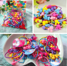 50pcs/Pack New Korea Colorful Plastic Elastics children's Kids candy color rubber band baby Girl Hair accessories headdress