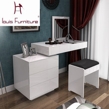 Fashion white paint small apartment telescopic minimalist modern computer desk dresser bedroom dresser combination of dual-use(China)