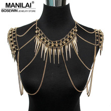MANILAI Punk Type Women Sexy Body Jewelry Multi Layers Nail Pendant Tassel Body Chains Necklaces Vintage Accessories Collier