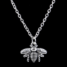 Drop Shipping Cute Bee Necklace Fine Jewelry Silver Honey bee Statement Pendant Necklace For Women Men Unisex Party Gift