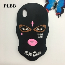 2017 New 3D Big Eyes Masked Teared Girls Jesus Christian Cross Phone Coque Case for iPhone X Thug Life Soft Silicone Capa Cover(China)