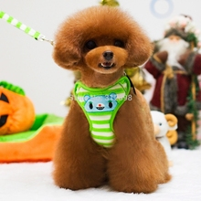 Hot Soft Dog Harness Green Pink Striped Pet Collars With Lead Leash Accessories Puppies Animals Dachshund Bulldogs Yorkshire