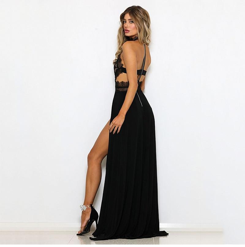 GACVGA Sexy Women Sleeveless Summer Dress Halter Neck Lace Crochet Evening Maxi Long Dress Backless Party Dresses Vestido 5