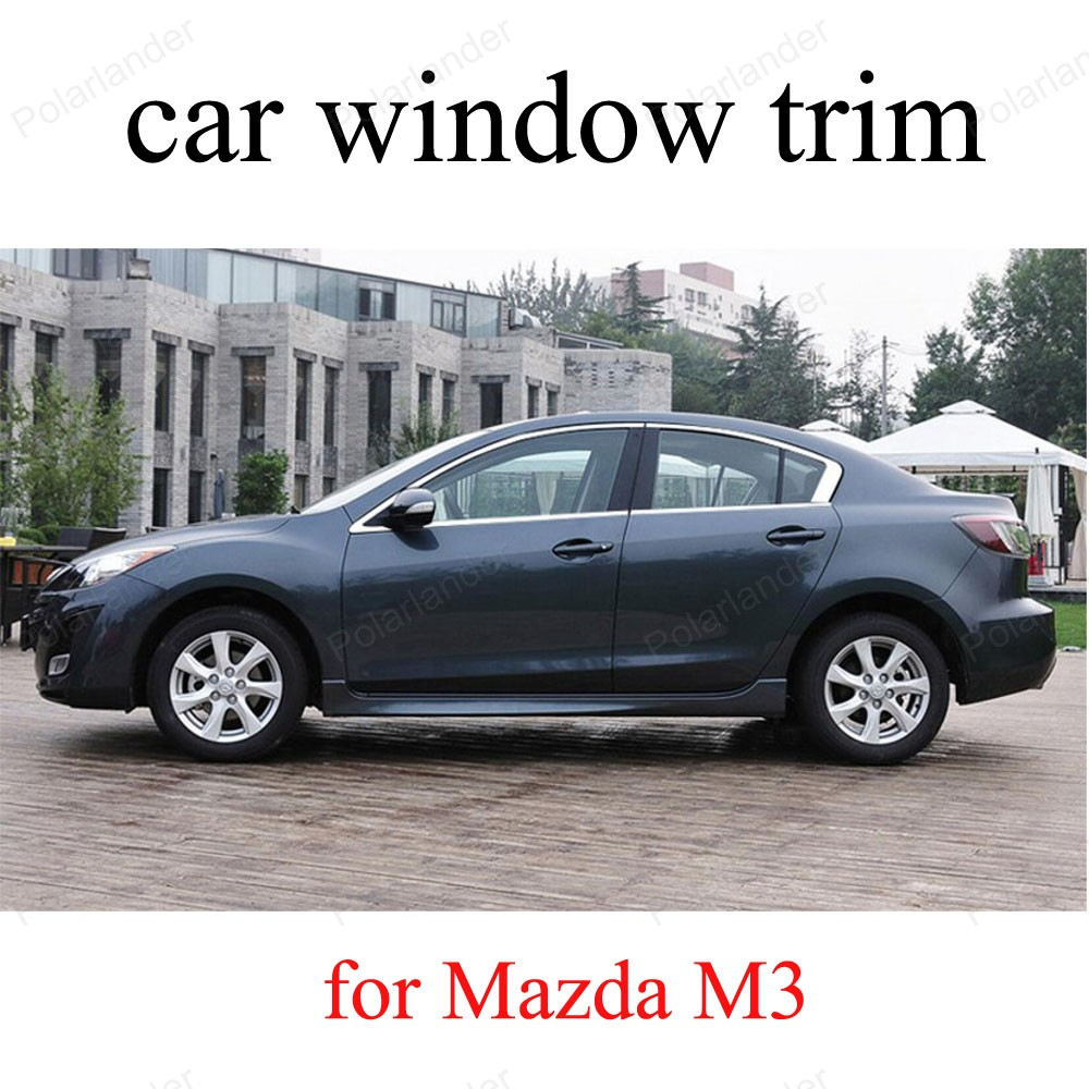For M-azda M3 car styling Car Window Trim Stainless Steel Decoration Strips without column<br><br>Aliexpress