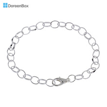 "Doreen Box hot- Silver color Lobster Clasp Link Bracelets Chain Bracelet 20cm(7-7/8""), sold per lot of 12 pieces (B14184)"