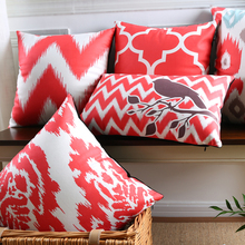 Flower Pattern Cushion Covers Tree Birds Geometric Wavy Stripe Soft Pillow Covers Red and Black Style Bedroom Sofa Decoration(China)
