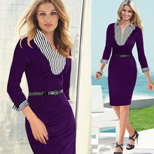 Professional-looking Business Suit Casual Plus Size Dress Cheap Office Fashion Wear Purple Knee Length Dress(China)
