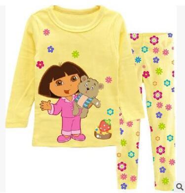 Fashion girls clothing set spring cotton baby girls sets childrens pajamas suit sleepwear Dora cartoon print t-shirts+pants<br><br>Aliexpress