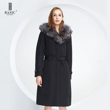 BASIC EDITIONS Winter Slim Long Parka Padding Polyester Fox Fur jackets With Belt Cotton Coat Women - 12W-30 Free shipping
