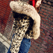 Chaleco Pelo Fashion Winter Faux Fur Coat With Hooded Women Slim Short Leopard Coat Female jacket faux fur gilet fourrure S-2XL
