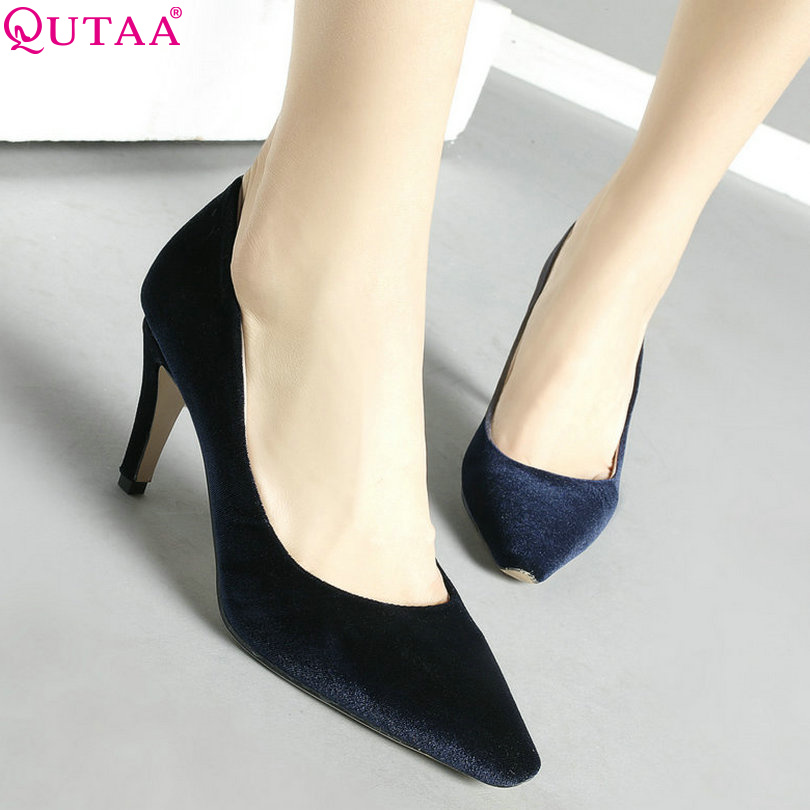 QUTAA 2017 Women Pumps Ladies Shoes Black Thin High Heel Pointed Toe Sexy Fashion Woman Wedding Shoes Size 34-43<br><br>Aliexpress