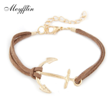 Anchor Bracelets for Women Men Jewelry Bijoux 2017 Fashion Rope 8 Leather Charm Bracelets & Bangles Vintage Wrap Pulsera Mujer(China)