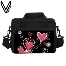 VEEVANV Brand 2017 Black Purple Loves 3D Prints Cooler Insulated Lunch Bag PU Love Lunch Bags for Women Prints Picnic Lunch Boxs