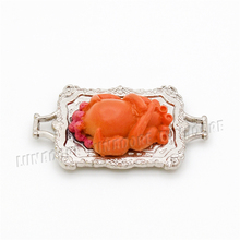 Odoria 1:12 Miniature Christmas Roast Turkey with Silver Plate Dinner Food Dollhouse Kitchen Accessories