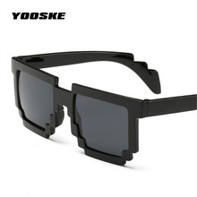 YOOSKE Deal with it Glasses Thug Life Glasses Pixel Women Men Sunglasses Black Mosaic Sun Glasses Women's Masculine Mirrored