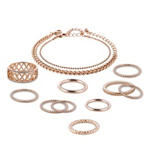 2017 Fashion New Products Alloy Bracelet Rings Set Mosaic Rhinestone Gold Jewelry Premium Set Accessories
