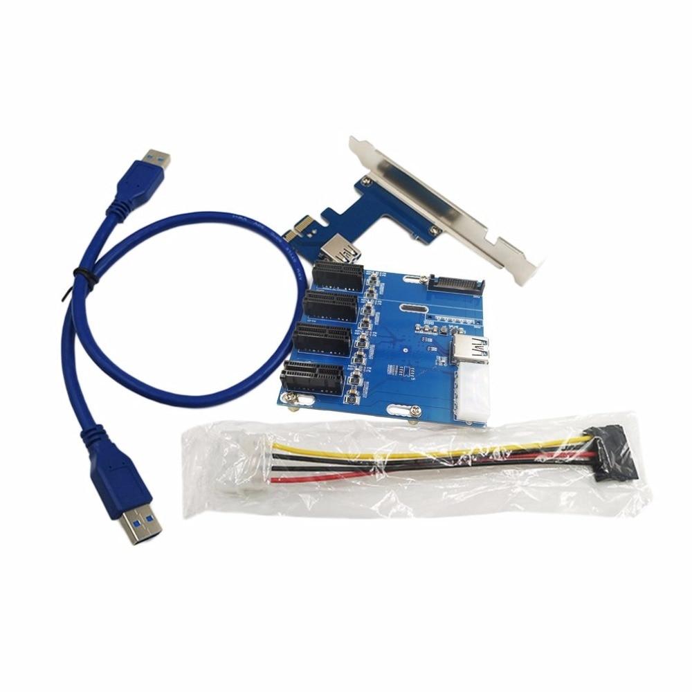 PCI-E to PCIe Riser Card 4PIN USB3.0 PCI-E 1 to 4 PCIe Adapter 1 Drag 4 PCI-E 1X Expansion Card 4-port PCIe Slot<br>