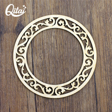 QITAI 2017 New Wood Crafts Circular Shaped Home Decoration Natural Color Ornament Wooden Household Product Accessory WF289(China)