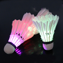 Dark Night 4 Pcs Colorful LED Shuttlecocks Feather Shuttlecock Badminton B2C Shop(China)