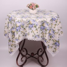 Blue Rosa Multiflora Vintage Table Cloth Rectangular for Dinning Table / Custom Size Square White Cotton Tea Tablecloth Covers