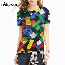 Raisevern Funny Colorful Toy Blocks 3D T Shirt Lego Bricks t-shirt Super Popular children's Toy Print Summer Tee Top Camisetas(China)