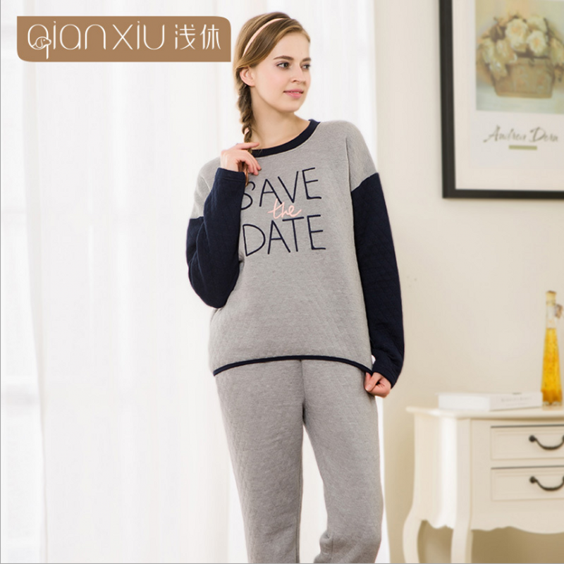 2018 Spring Brand Homewear Lovers Casual Pajama sets Women Cotton O-neck collar Sleepwear suit Female patchwork t shirt + pants