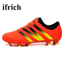 Ifrich Original Football Boots Men Long Spikes Football Sneakers Outdoor Training Soccer Shoes Black/Orange Soccer Boots Cheap(China)