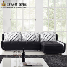 french style new sofa design black and white small size l shaped mini house types of living hall chinese leather sofa sets K001(China)