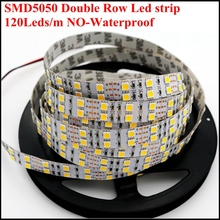 Good quality 5M SMD5050 led strip double row DC12V 120led/M non-waterproof led bar light 5050 led rope 600Led/roll free shipping