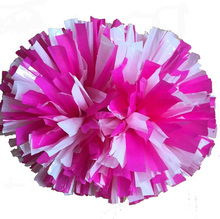 Pink + White cheerleading pompoms (2pieces/lot) 40CM Cheers pompon with middle plastic handle Color can free combination