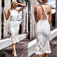 Buy Spring Summer Vestidos Party Elegant Ruffles Dress Women Dresses Sexy Halter Neck Shoulder Backless Bodycon White Lace Dress
