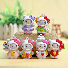 Good Craft PVC Funny Transform Face Expression Hello Kitty Action Figure Anime KT Cat Pendant Keychain Girls Gift Toy 6pcs(China)