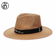 FS Unisex Sun Caps Summer Wide Brim Linen Straw Hat Fashion Rivets Hats For Women Men Beach Panama Hat Chapeau Female(China)