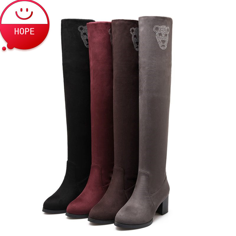Plus Size34-43 2017 new Sexy Women Boots Long Thigh High Boots Rhinestone Pumps Black Spring Winter Female Snow Boots SBT2059<br><br>Aliexpress
