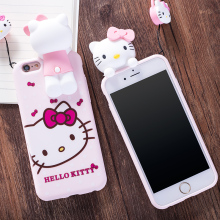 Hot Japan Fashion Cute 3D Cartoon Hello Kitty Cat Soft Silicon Protective Case for iPhone 7 7plus 5 6 6S Plus Cover with Lanyard