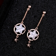 MIGGA Rose Gold Color CZ Crystal Star Stud Earrings Long Style Fashion Cubic Zirconia Women Jewelry(China)