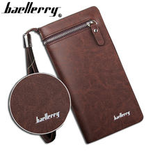 Baellerry brand wallet men long man wallets leather male clutch Top Quality big purse money bag strap vintage cellphone bag