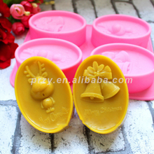 HOTSALE Christmas silicone mold for soap and candles making mould Diy Craft Molds Christmas deer, Christmas bells(China)