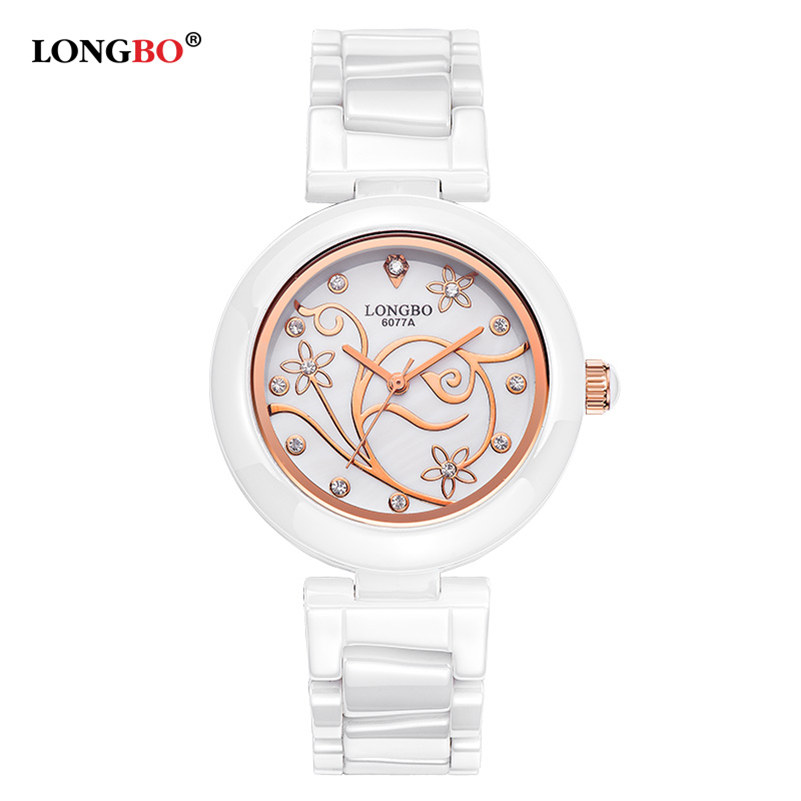 LONGBO Luxury Ceramic Strap Women Watches Hignt Quality Rose Diamonds Dress Watch Ladies Fashion Casual Flower Quartz Wristwatch<br><br>Aliexpress