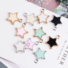 50pcs 20*23MM DIY Jewelry Ornament Accessories Bling Glitter Kawaii Stars Bracelet Charms Phone Chain Keyring Earring Pendants