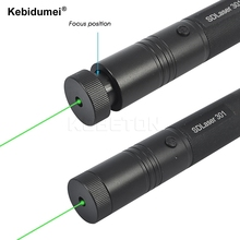 High power 301 Green Laser Pointer Pen Adjustable Focus Super Lazer Beam Military Visible Laser Pointer green Burning Match(China)