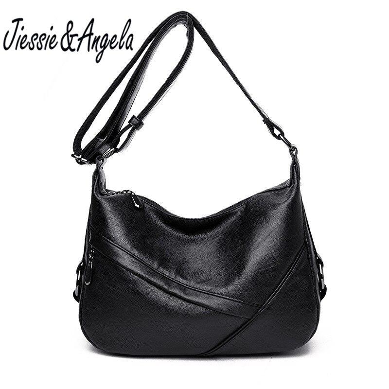 Jiessie&amp;Angela New luxury handbags women bags designer famous brand women leather bag big casual tote bag shoulder messenger bag<br>
