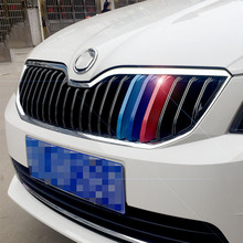 3D M Styling Car Front Grille Trim Sport Strips Cover Motorsport Power Performance Stickers for 2015-2017 Skoda Octavia A7 A 7